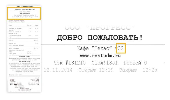 Пример кода ресторана из чека